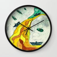 alcohol Wall Clocks featuring Floating like Alcohol by Miss Banana