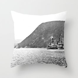 19th Century Steamboats, Anthony's Nose, Lake George Throw Pillow