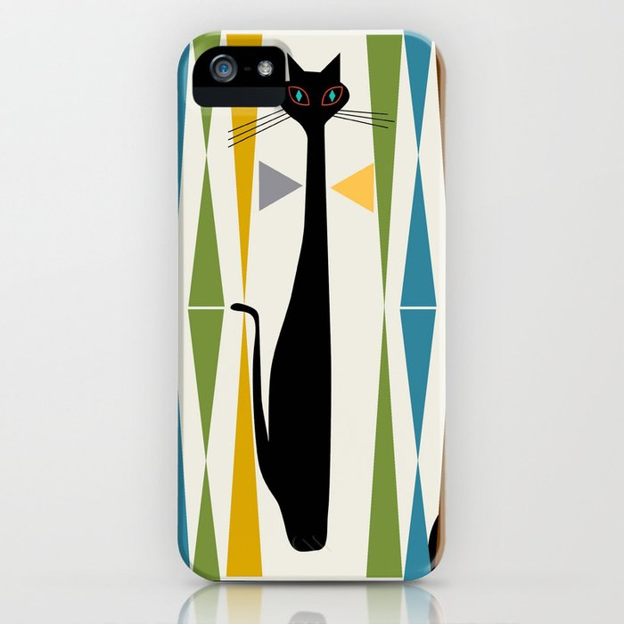 mid-century modern art cat 2 iphone case