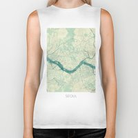 seoul Biker Tanks featuring Seoul Map Blue Vintage by City Art Posters