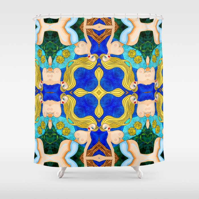 Woman with Sunflower  Shower Curtain