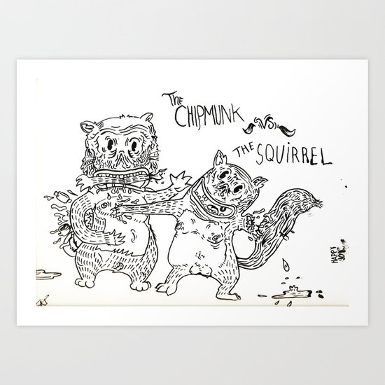 Squirrel vs Chipmunk Art Print