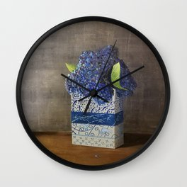 Blue Hydrangeas in Unique Chinese Vases Wall Clock