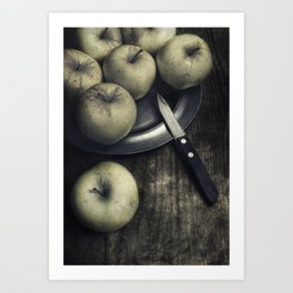 Still life with green apples Art Print