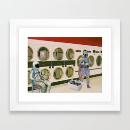 In the Laundromat with Boba Fett Framed Art Print