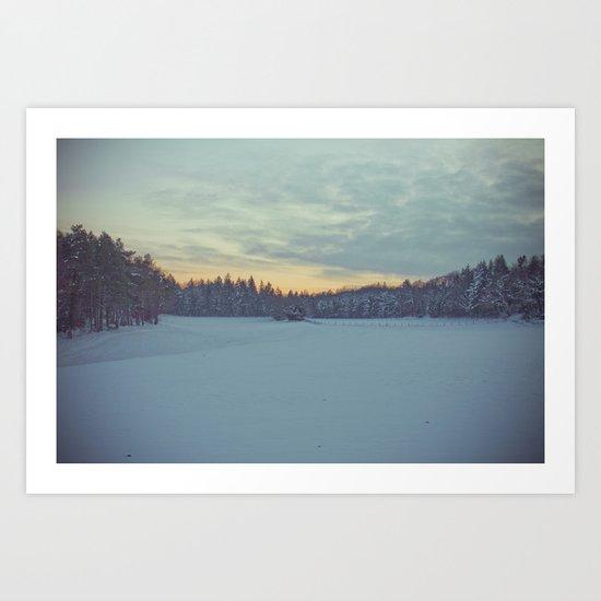 Frozen sunset. Art Print