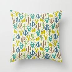 Prickly Cactus (Greens) Throw Pillow