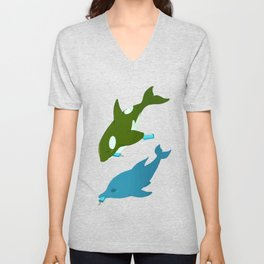 Green Orca and Dolphin Unisex V-Neck