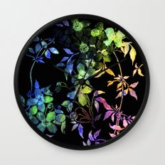 garland of flowers black version 2 Wall Clock