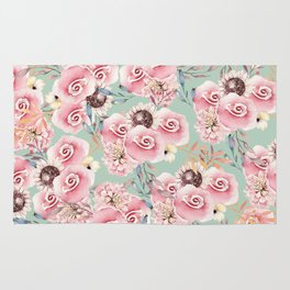 Vintage green pastel pink watercolor botanical roses Rug