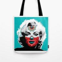 marylin monroe Tote Bags featuring Marylin de los Muertos 3 by jazzyjules63