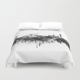 Glasgow skyline in black watercolor Duvet Cover