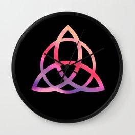 Purple Tie Dye Triquetra Wall Clock