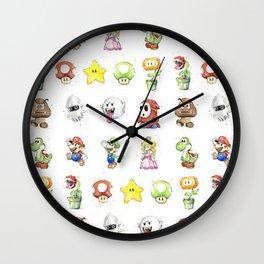 Mario Characters Watercolor Geek Gaming Videogame Wall Clock