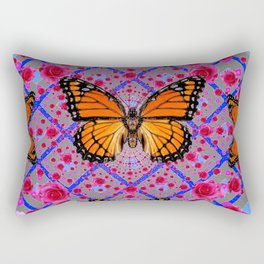 GOLDEN ORANGE MONARCH BUTTERFLIES ROSE PATTERN ART Rectangular Pillow