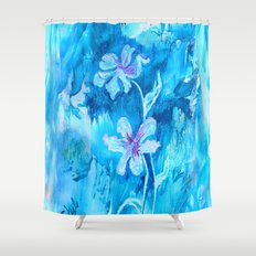 Blue encaustic flowers Shower Curtain