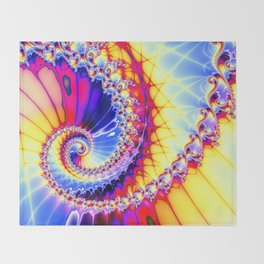 BBQSHOES™: Wu Wei Spiral Fractal Psychedelic Art Throw Blanket