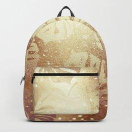 Beautiful Gold Glitter Leaf Pattern Backpack