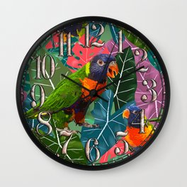 Parrots and Tropical Leaves Wall Clock