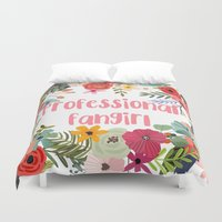 fangirl Duvet Covers featuring Professional Fangirl by Meleika
