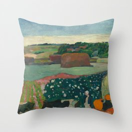 Haystacks in Brittany Oil Painting by Paul Gauguin Throw Pillow