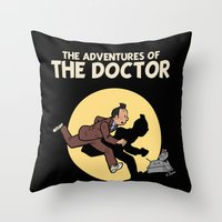 tintin Throw Pillows featuring The Adventures Of The Doctor by Deborah Picher Illustrations