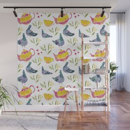 Tea and Pigeons Pattern Wall Mural