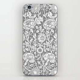 """William Morris Floral Pattern   """"Pink and Rose"""" in Grey and White   Vintage Flower Patterns   iPhone Skin"""