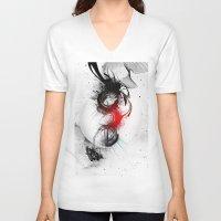 women V-neck T-shirts featuring women by  MuDi