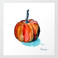 pumpkin Art Prints featuring Pumpkin by Elena Sandovici