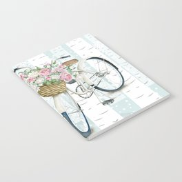 White Vintage bicycle in a Birch Forest Notebook