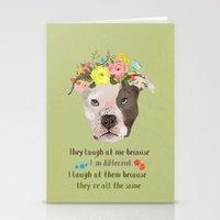 pitbull Stationery Cards featuring Pitbull by Elisandra Sevenstar