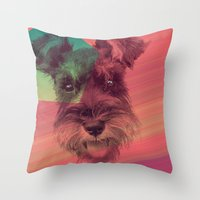 schnauzer Throw Pillows featuring Schnauzer by MOSAICOArteDigital
