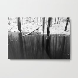 Snowing on water Metal Print