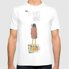 It Always Happens | Collage Mens Fitted Tee MEDIUM White