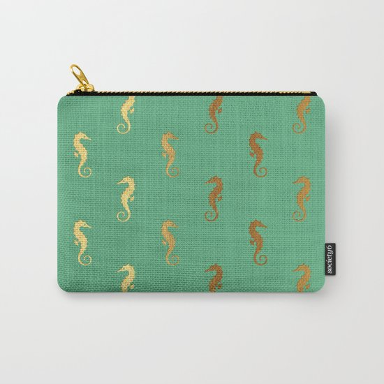 Nautical turquoise gold seahorse Carry-All Pouch