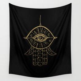 Hamsa Hand Gold on Black #1 #drawing #decor #art #society6 Wall Tapestry