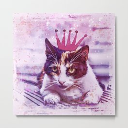 cute cat princess pink crown art Metal Print