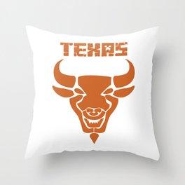 Texas bull bull head horns USA gift Throw Pillow