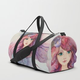 Watercolor Flower Girl Lilac Pink Purple Hair Duffle Bag