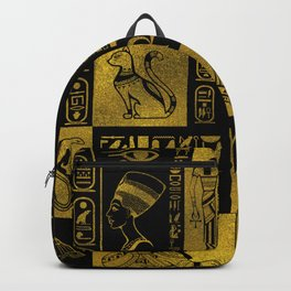 Egyptian  Gold hieroglyphs and symbols collage Backpack