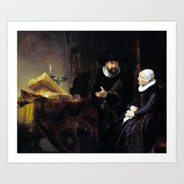Rembrandt The Mennonite Preacher Anslo and his Wife Art Print