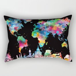 world map city skyline 3 Rectangular Pillow