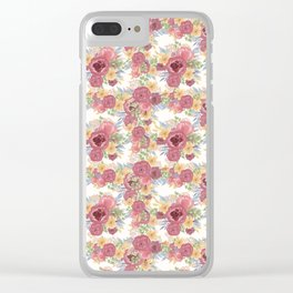 Bouquets of Burgundy and Yellow Flowers Clear iPhone Case