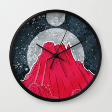 The Three Moons Over The Mountains Wall Clock