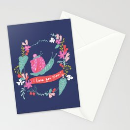 Mommy I LOVE YOU! Mum and baby snail with flowers, nvy Stationery Cards