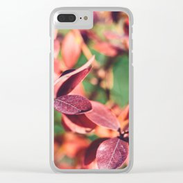 RED BLUEBERRY LEAVES Clear iPhone Case