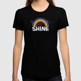 SHINE in white T-shirt