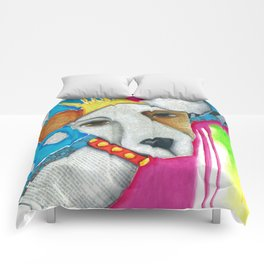 Dog Abstract Original Art Jack Russell Terrier painting The Queen Comforters