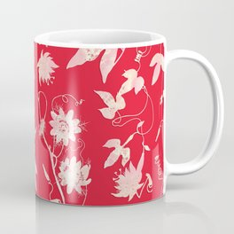 Festive Christmas Bright Red Passion Flowers Coffee Mug